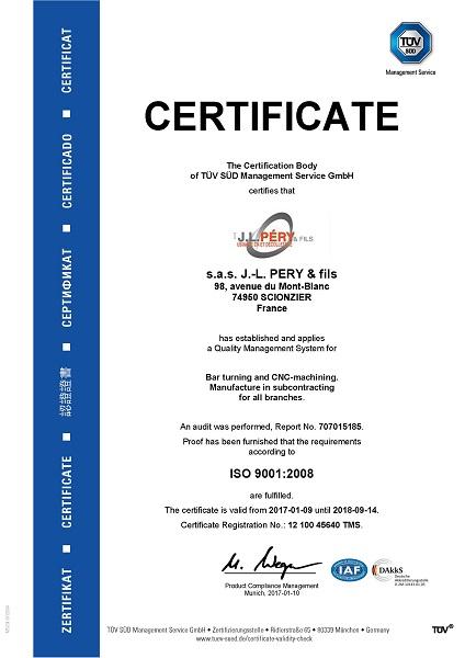 Certificat Iso Pery TUV Anglais 2017-2018