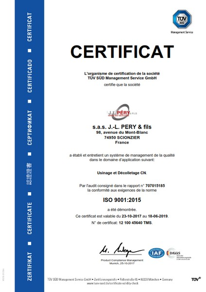 Certificat Iso décolletage Pery TUV