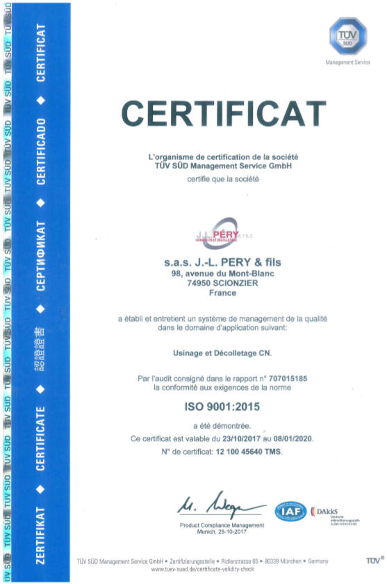 Certificat Iso usinage décolletage CN Pery TUV